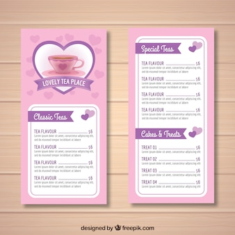 Tea menu template with realistic style