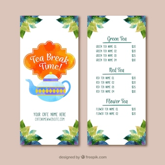 Tea menu template with watercolor style
