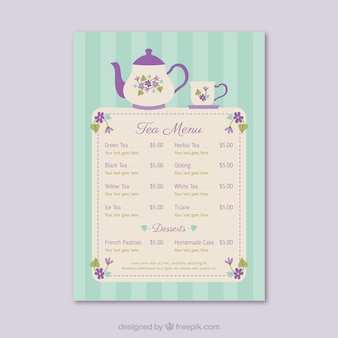 Tea menu template
