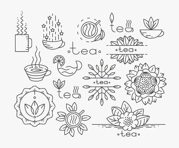 Tea mono line elements for menu, package, contour flat logo, emblems. herbal and floral decorations.