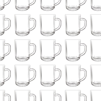 Tea mug seamless pattern. hand drawn glassware cup.