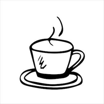 Чашка горячего чая или кофе рисованной вектор каракули в простом модном стиле