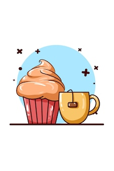 Tea and pancake icon illustration