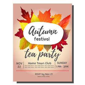 Tea party autumn invitation card with forest leaves