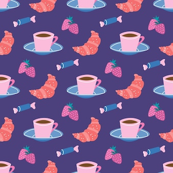 Tea party coffee break cup and saucer sweets croissants with strawberriesvector seamless pattern