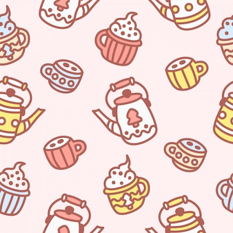 Tea party cute   seamless pattern. goodies, teapot with tea, mug with cappuccino, ice cream, coffee.
