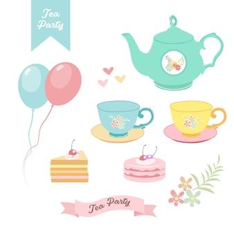 Tea party elements design