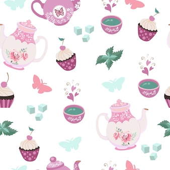Tea party elements seamless pattern