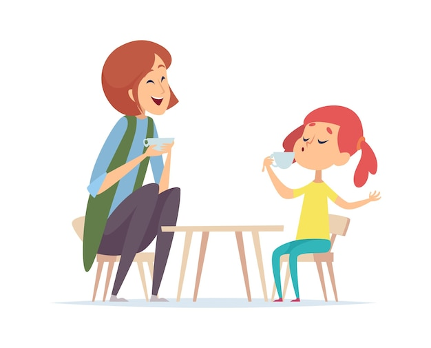 Tea party game. woman and girl playing in cafe or restaurant. baby with nanny or mother vector illustration. play tea with toyable table, leisure with daughter