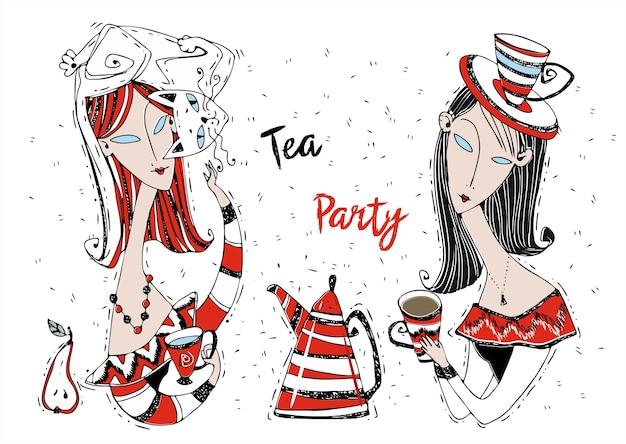 お茶会。ガールフレンドはお茶を飲みます。アールヌーボースタイル。モディリアーニアート。