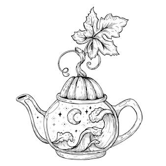 A tea party for halloween a kettle with a pumpkin the night sky with the ocean handmade vector ar