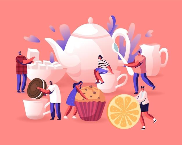 Tea party, hot beverage for cold season concept. cartoon flat  illustration