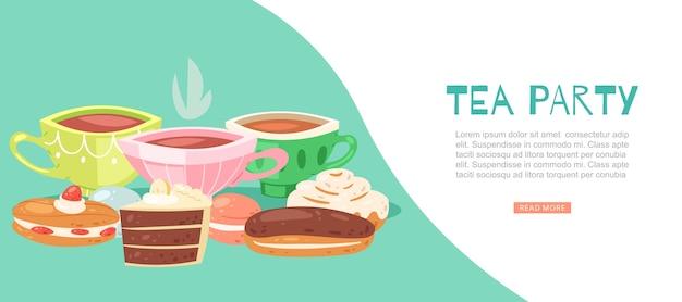 ティーパーティーのイラスト。磁器のカップ、ホットフレッシュドリンク、チョコレートケーキのスライス、エクレア、甘いクリームフードのデザート。ロマンチックなグルメランチタイム