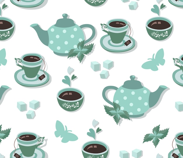 Tea party seamless pattern in blue