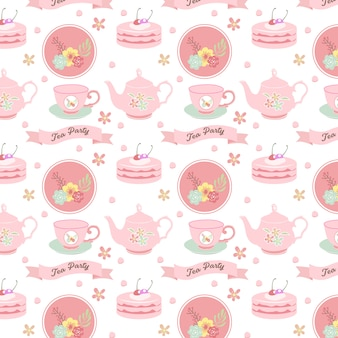 Tea party seamless pattern design in pink