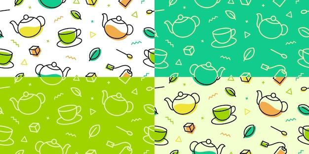 Чай шаблон зеленый лист чашка горшок memphis контур линия искусства бесшовные фон