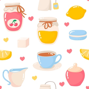 Чайный узор векторные иллюстрации в мультяшном стиле