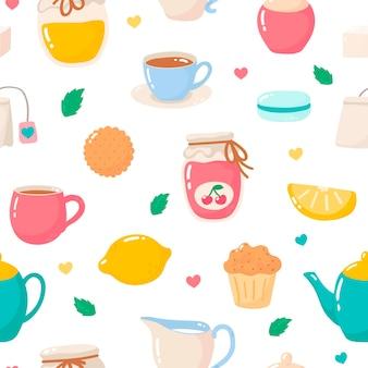 Чайный узор векторные иллюстрации