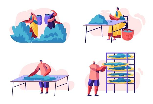 Набор сборщиков чая. мультфильм плоский рисунок