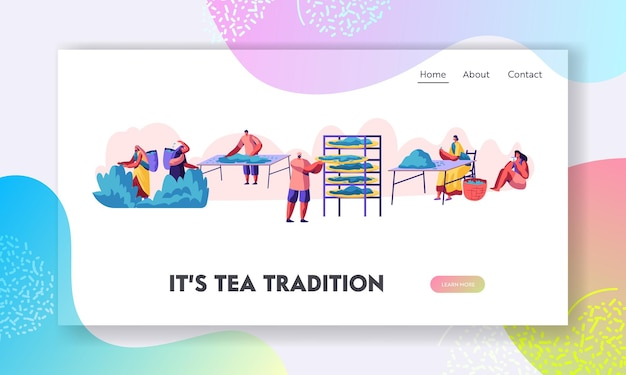 Tea pickers website landing page. male and female characters in traditional indian clothes collecting fresh tea leaves on plantation.