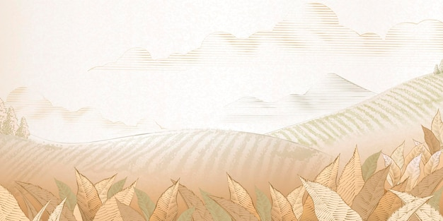 Tea plantation background in engraving style for design uses