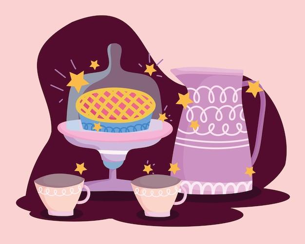 Чайник торт и кофейные чашки готовят в мультяшном стиле надписи иллюстрации