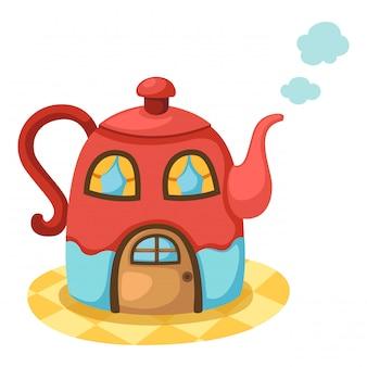 Tea pot house.vector