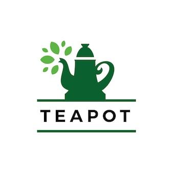 차 냄비 잎 시간 음료 로고 템플릿