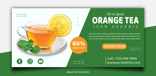 Tea promotion social media cover or banner template