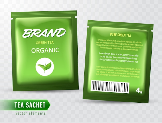Tea sachet package  template  on transparent backgrpound. realistic tea pack bag.