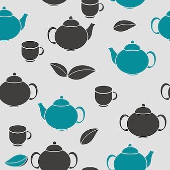 お茶のシームレスなパターンの背景ベクトル図