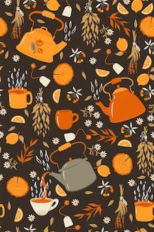 ティーポットとマグカップでお茶のシームレスパターン。