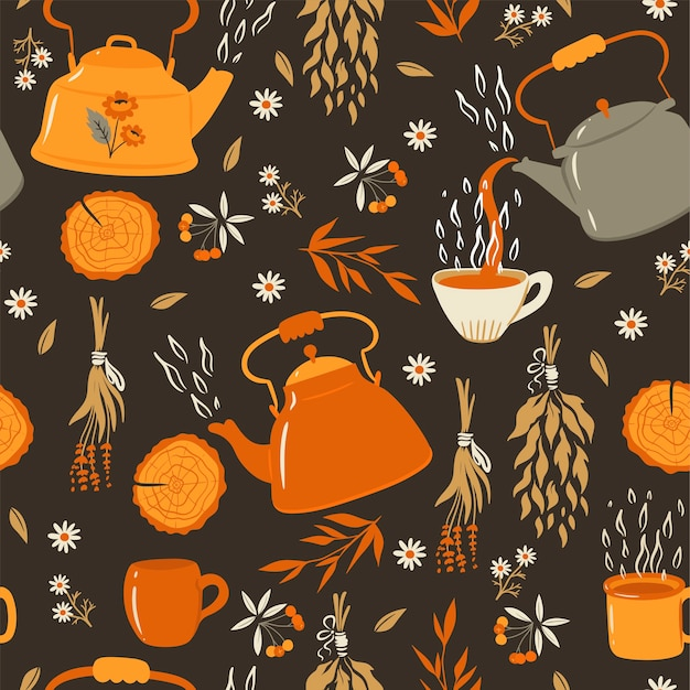 Tea seamless pattern with teapots and mugs.