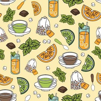 Tea seamless pattern.
