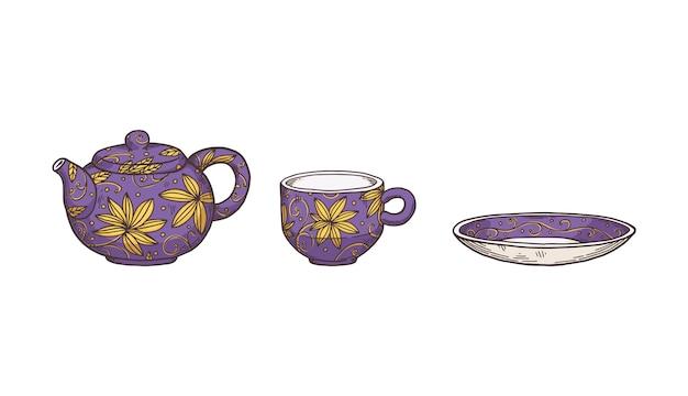 ティーサービスまたはポットとカップ付きのお茶セット