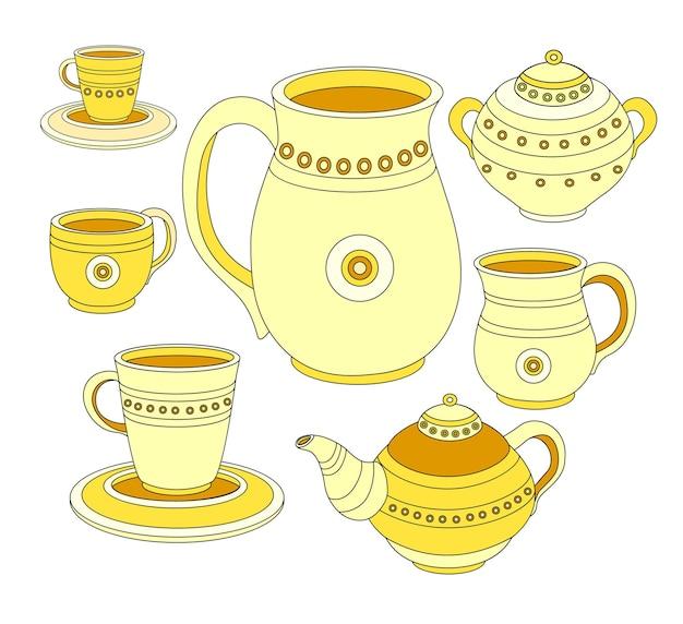 お茶セット、コーヒーセット、お茶とコーヒーの食器。陶器のコレクション。やかん、水差し、受け皿、マグカップ。