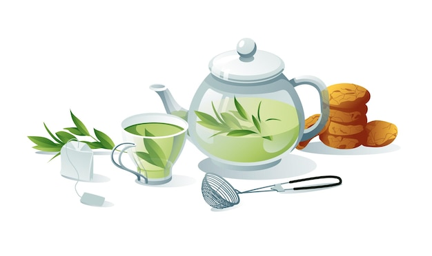 Tea set green, herbal. teapots, cups, tea bag, strainer, cookies. objects are isolated on a white background.