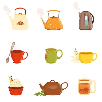 Tea set, various kitchen utensils, tea cup and kettle vector illustrations
