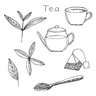 ティーセットベクトルイラスト、手描きスケッチ、茶葉、カップ、ティーポット、ティーバッグ、茶葉とスプーン