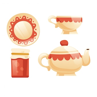 Tea set with cup, kettle, saucer and jam jar