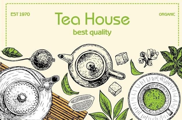 Tea shop frame illustration vector card design with tea tea house poster vector hand drawn set