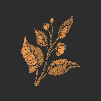 Росток чая. золотой символ. эскиз куста, бутона, ветки, листа, цветка. ботаническая форма