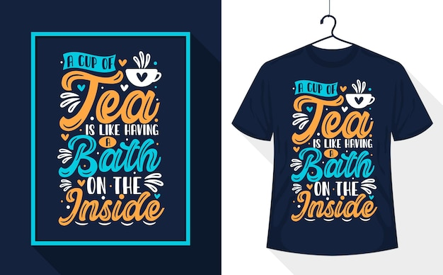 티 티셔츠 디자인, 차 한 잔은 목욕하는 것과 같습니다.