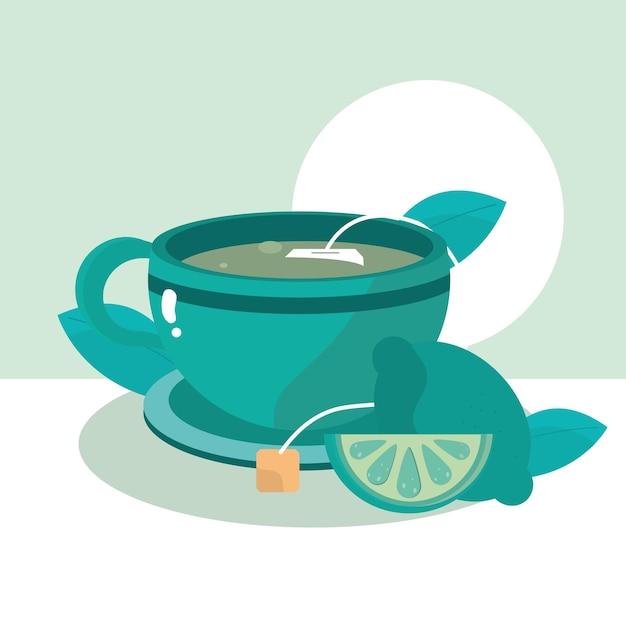 Tea teacup lemon herbs fresh healthy meal  illustration