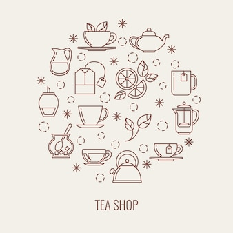 Tea thin line vector icons set in a circle