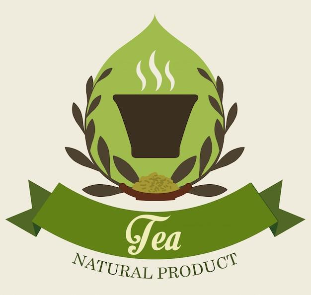Tea time badge or label design