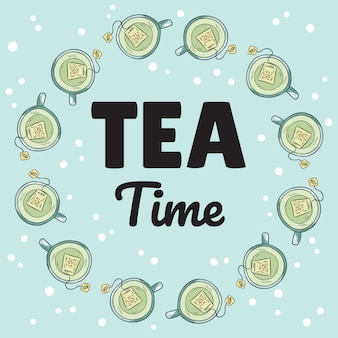 Tea time banner with cups of green tea