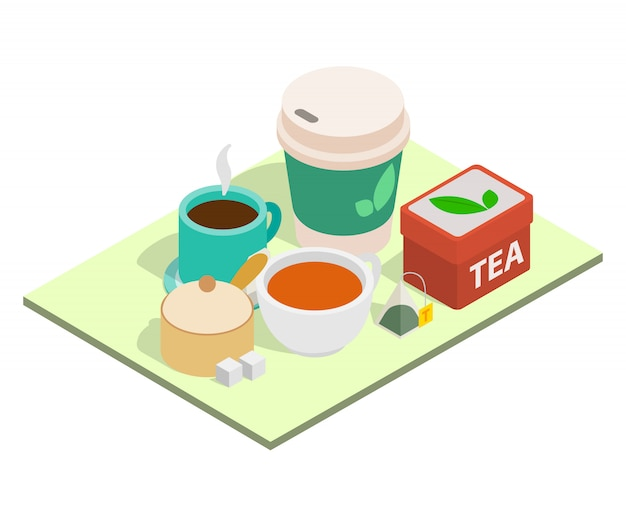 Tea time concept banner, isometric style