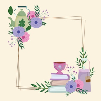 Tea time, cute kettle cups books flowers and leaves frame decoration  illustration