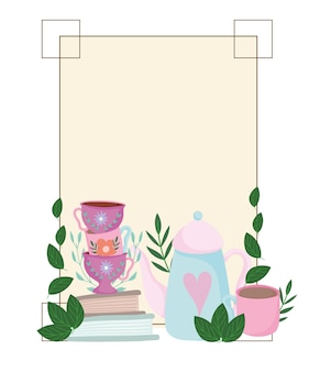 Время чая, милые чашки чайника, книги, цветы и листья, украшение рамки иллюстрации